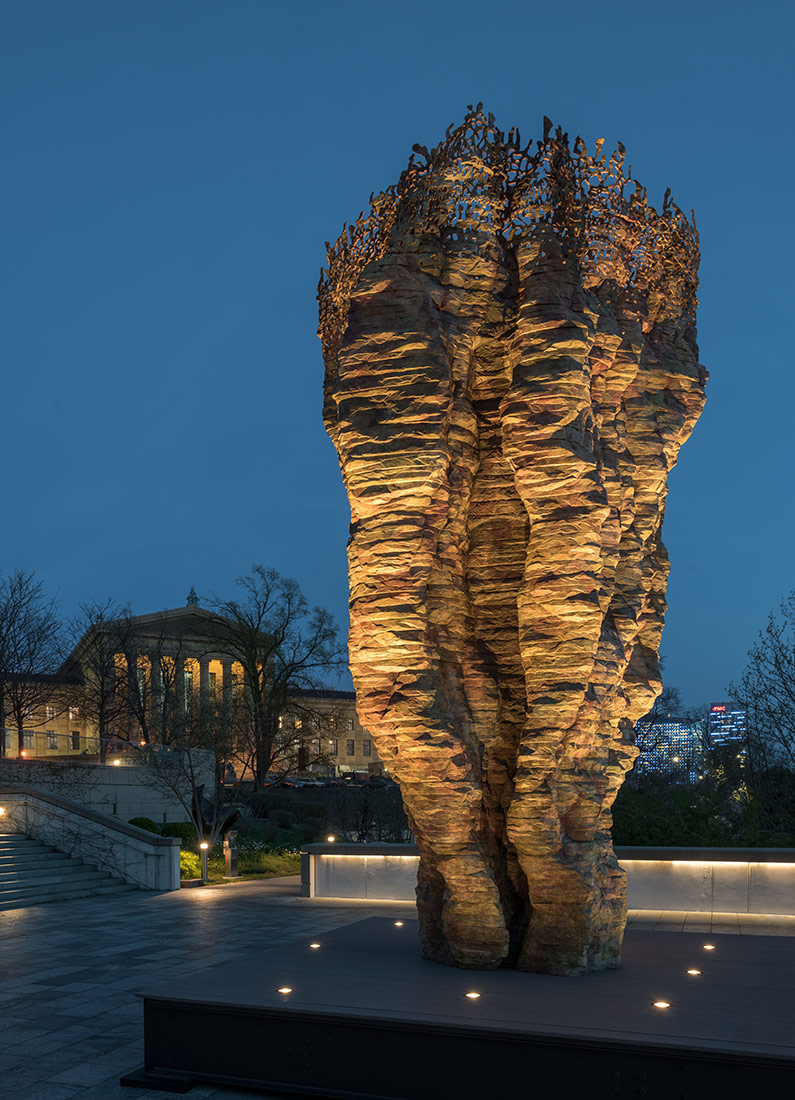 Bronze Bowl with Lace, 2013–14 (cast 2017–18), by Ursula von Rydingsvard, American, born Germany 1942. Bronze, 19.6 x 9.4 x 10 feet (6 x 2.9 x 3 m)