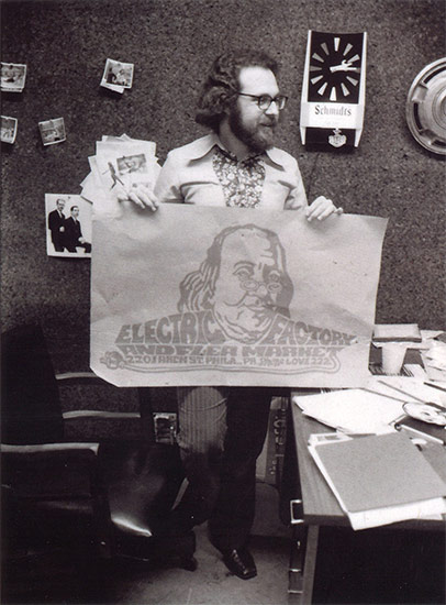 Larry Magid with the Electric Factory logo artwork, c. 1970