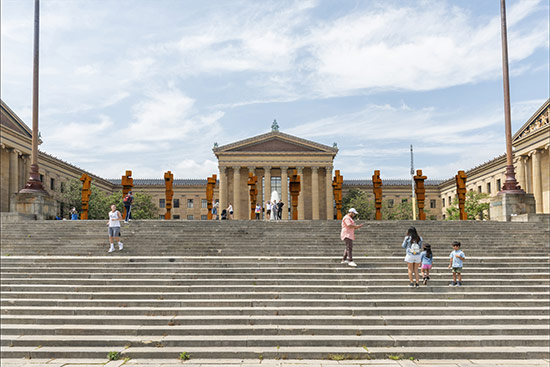 Antony Gormley: STAND, 2019. Digital rendering of installation view, Philadelphia Museum of Art. © Antony Gormley