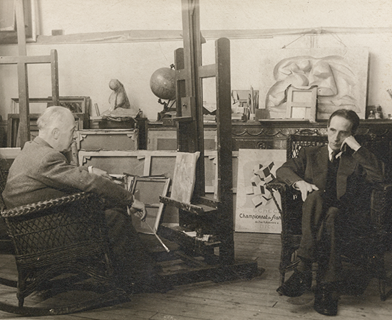 Marcel Duchamp and Jacques Villon in Villon's studio, c. 1951. Photograph by Agence Photographique Française. Alexina and Marcel Duchamp Papers, Philadelphia Museum of Art Library and Archives. Gift o