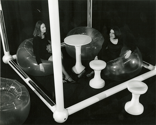 Installation view of Product Environment, 1970. Philadelphia Museum of Art Library and Archives: Rights and Reproductions Photograph Collection