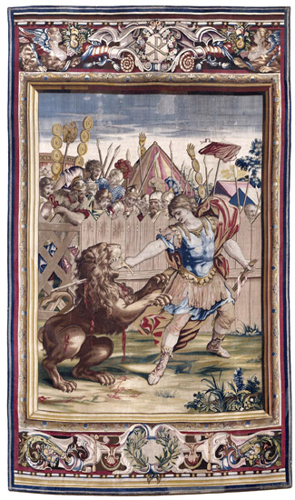 Tapestry showing Constantine Slaying the Lion