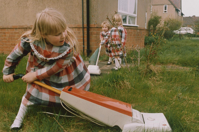 "Untitled (Girls in Plaid ""Hoovering"" the Lawn)"