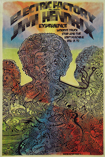 Jimi Hendrix at the Electric Factory poster by Ichabod, 1968