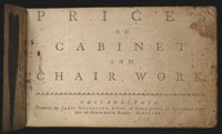 Prices of Cabinet and Chair Work, Philadelphia, 1772
