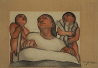 Woman with Two Children: Unused Mural Study for the Escuela Nacional de Agricultura (now the Universidad Autónoma), Chapingo, Mexico
