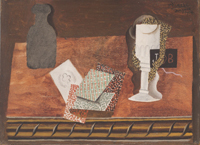 Still Life with a Bottle, Playing Cards, and a Wineglass on a Table