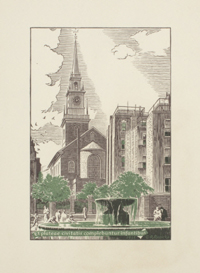 Christ Church, Salem Street, Boston, Looking West from the