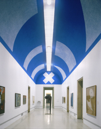 On a Blue Ceiling, Eight Geometric Figures: Circle, Trapezoid, Parallelogram, Rectangle, Square, Triangle, Right Triangle, X (Wall Drawing No. 351)
