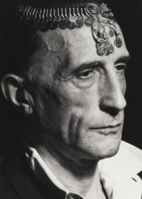 Marcel Duchamp with Turkish Coin Necklace on Forehead, Hollywood