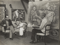 George Biddle Painting a Portrait of Man Ray