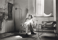 Untitled (Cy Twombly seated in his studio)