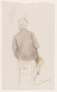 Man on a Stool, Seen from Behind