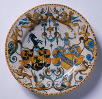 Plate with the Coats of Arms of the Böckhli and Christell Families of Augsburg, Germany