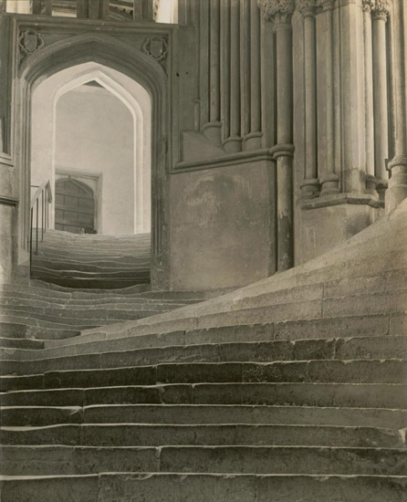 """A Sea of Steps,"" Wells Cathedral, Stairs to Chapter House and Bridge to Vicar's Close"