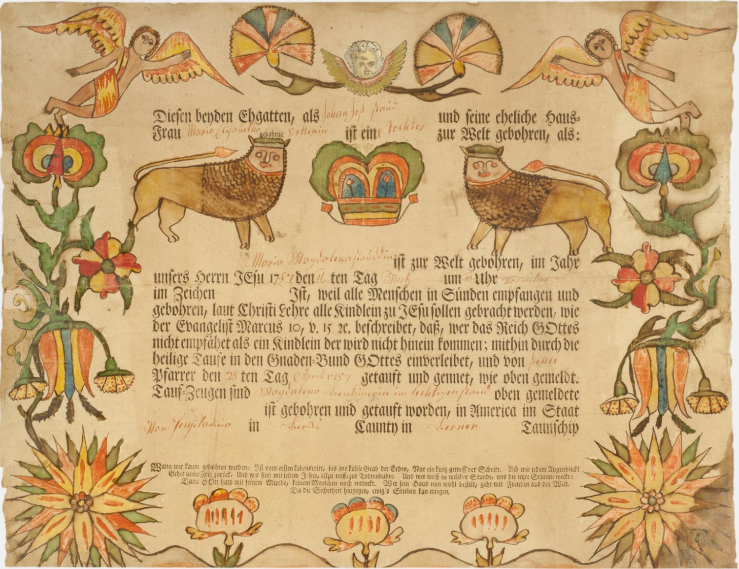 Birth and Baptismal Certificate for Maria Magdalena Staud (born March 16, 1787)