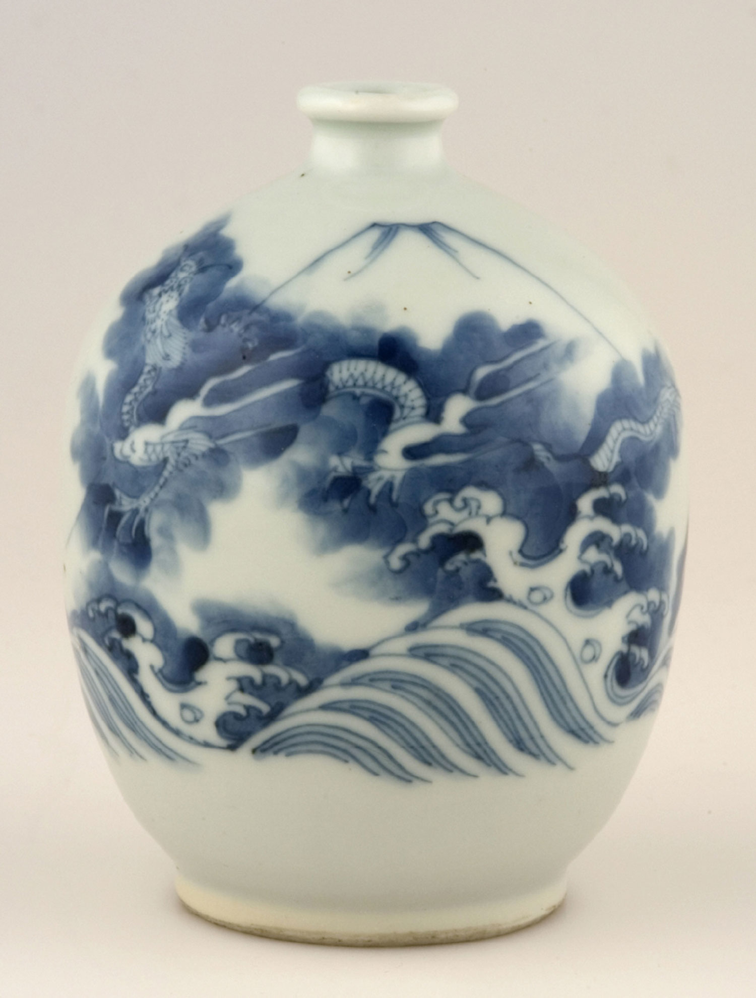 Bottle with design of Waves, a Dragon, and Mount Fuji