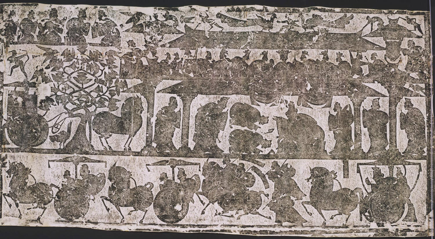 Rubbing from carved stone from the Wu Family Shrines, Eastern Han Dynasty (25-220), Stone Chamber 2 (south wall)