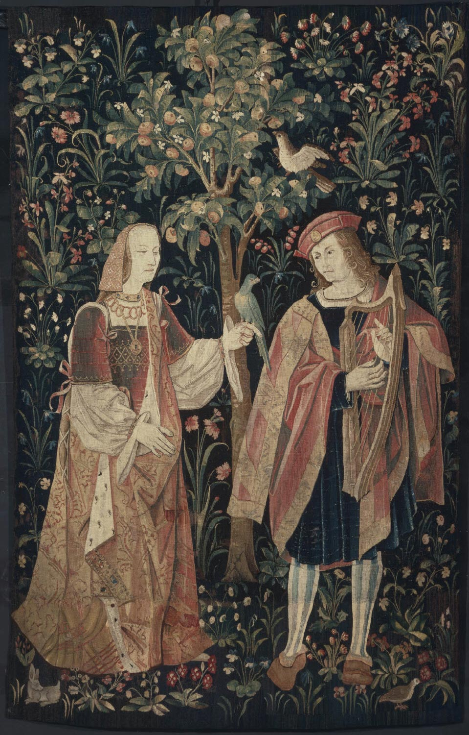 Fragment of a Tapestry showing a Courtly Couple