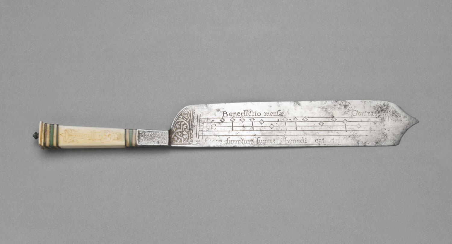 Knife inscribed with Musical Notation and Prayers of Grace and Benediction