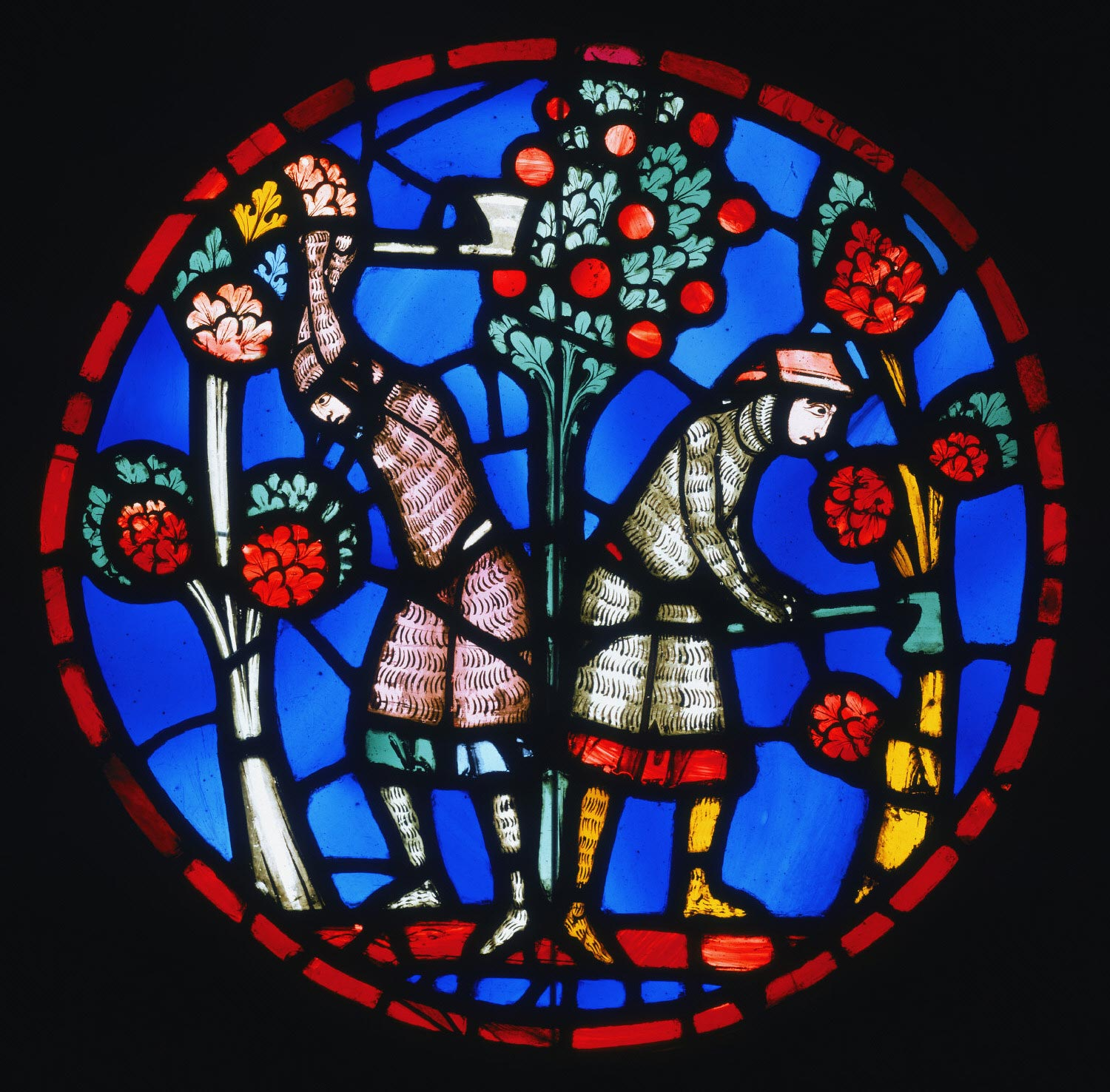 Rondel showing the Orchards outside Damascus Devastated by Holofernes's Army, from the Sainte Chapelle, Paris