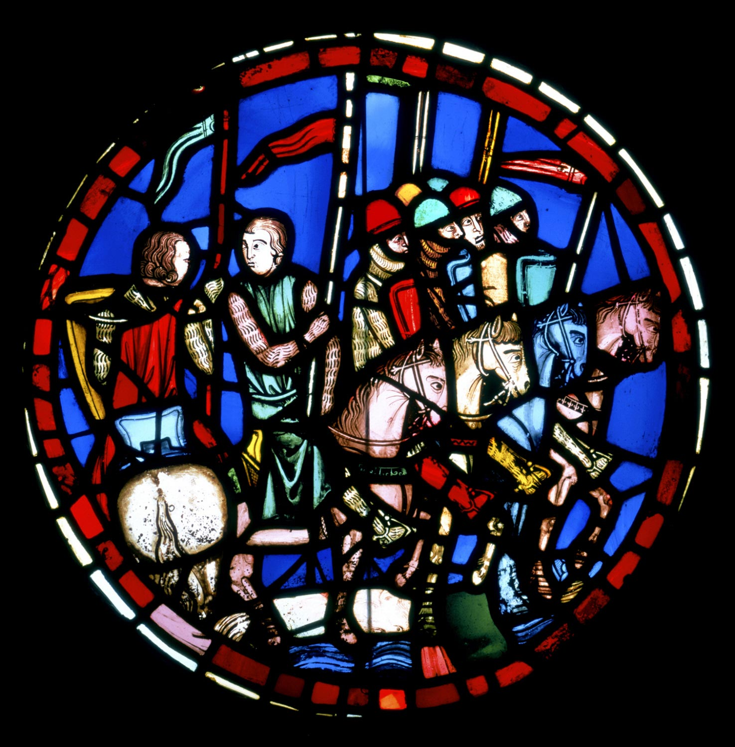 Rondel showing Holofernes's Army Crossing the Euphrates River, from the Sainte Chapelle, Paris
