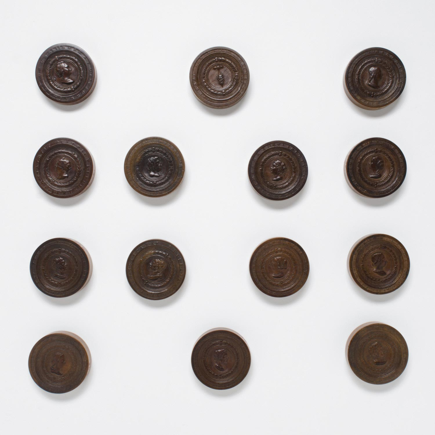 Board Game Markers (Fourteen) with Busts of Ancient Roman Emperors and Empresses