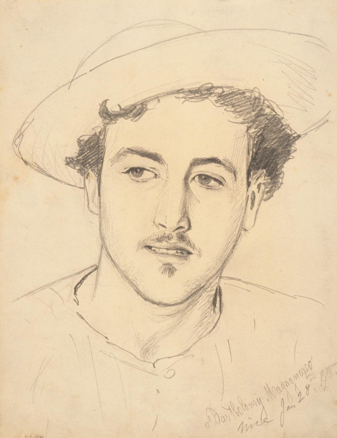Bartholomy Magagnosco (recto); Graphite sketch of unidentified subject matter and charcoal transfer (verso)