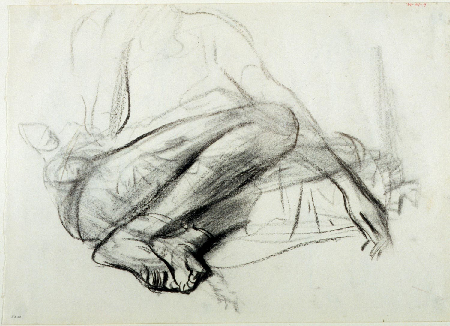 Lower Portion of Seated Figure (recto); Study of Five Arab Women (verso)