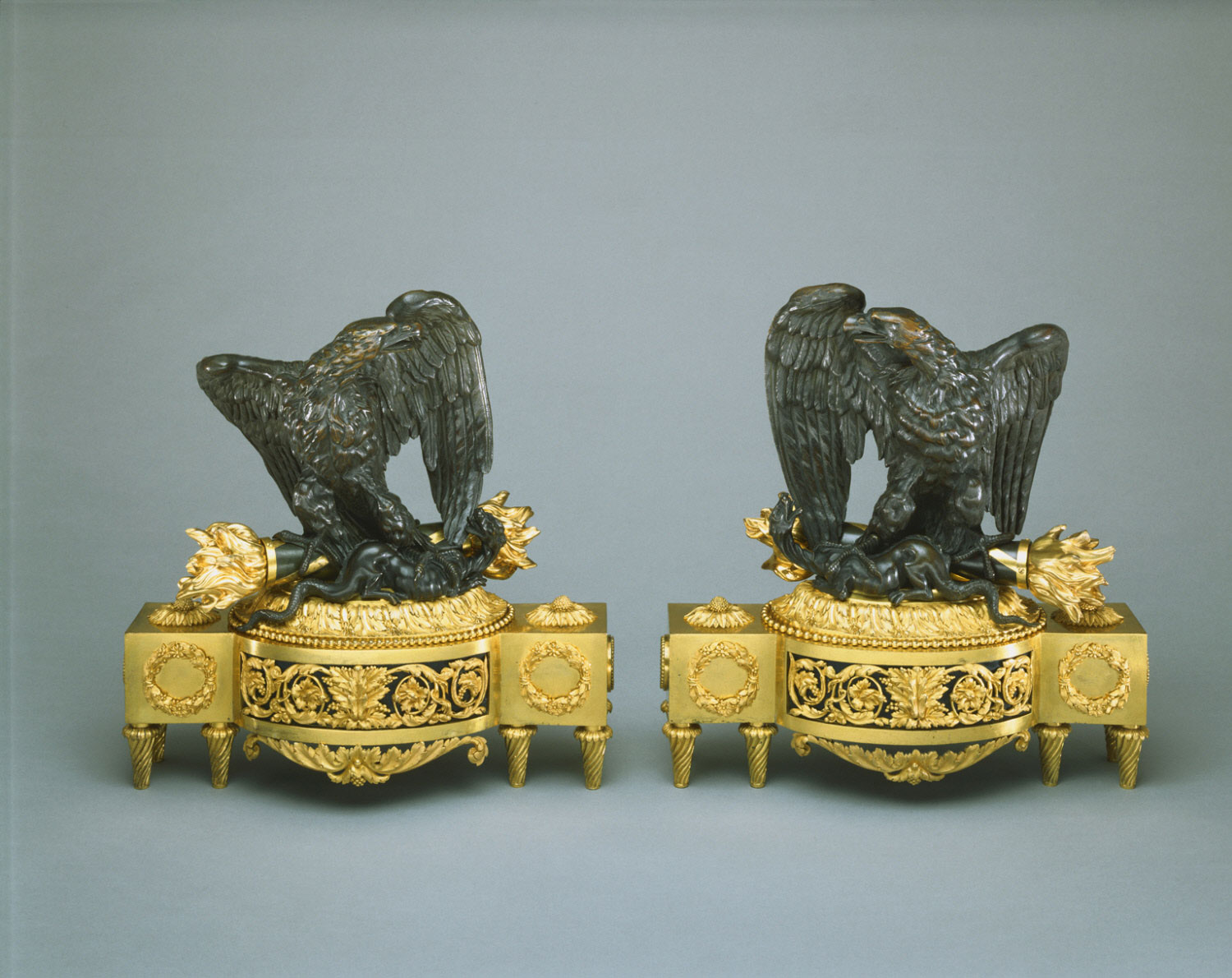 Pair of Andirons in the Form of Eagles