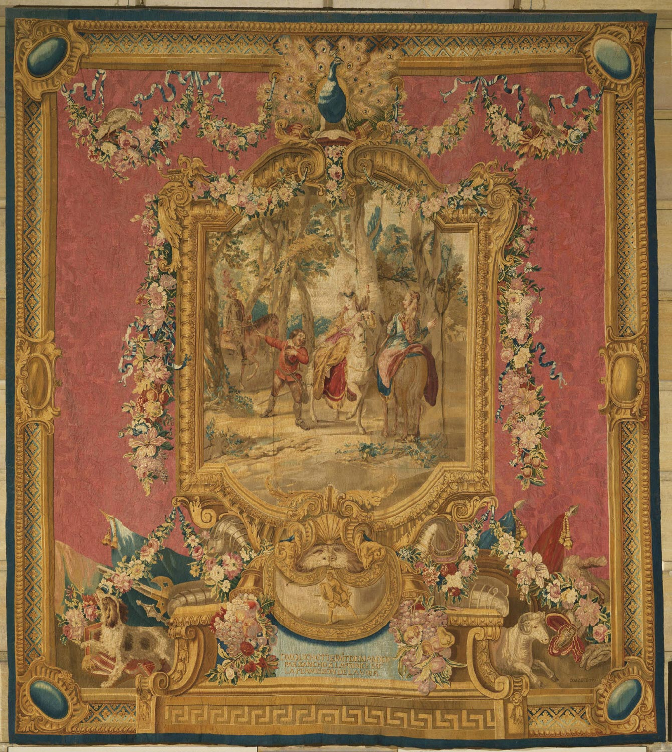 Tapestry showing Don Quixote Having Sancho Panza Ask the Princess's Permission to See Her