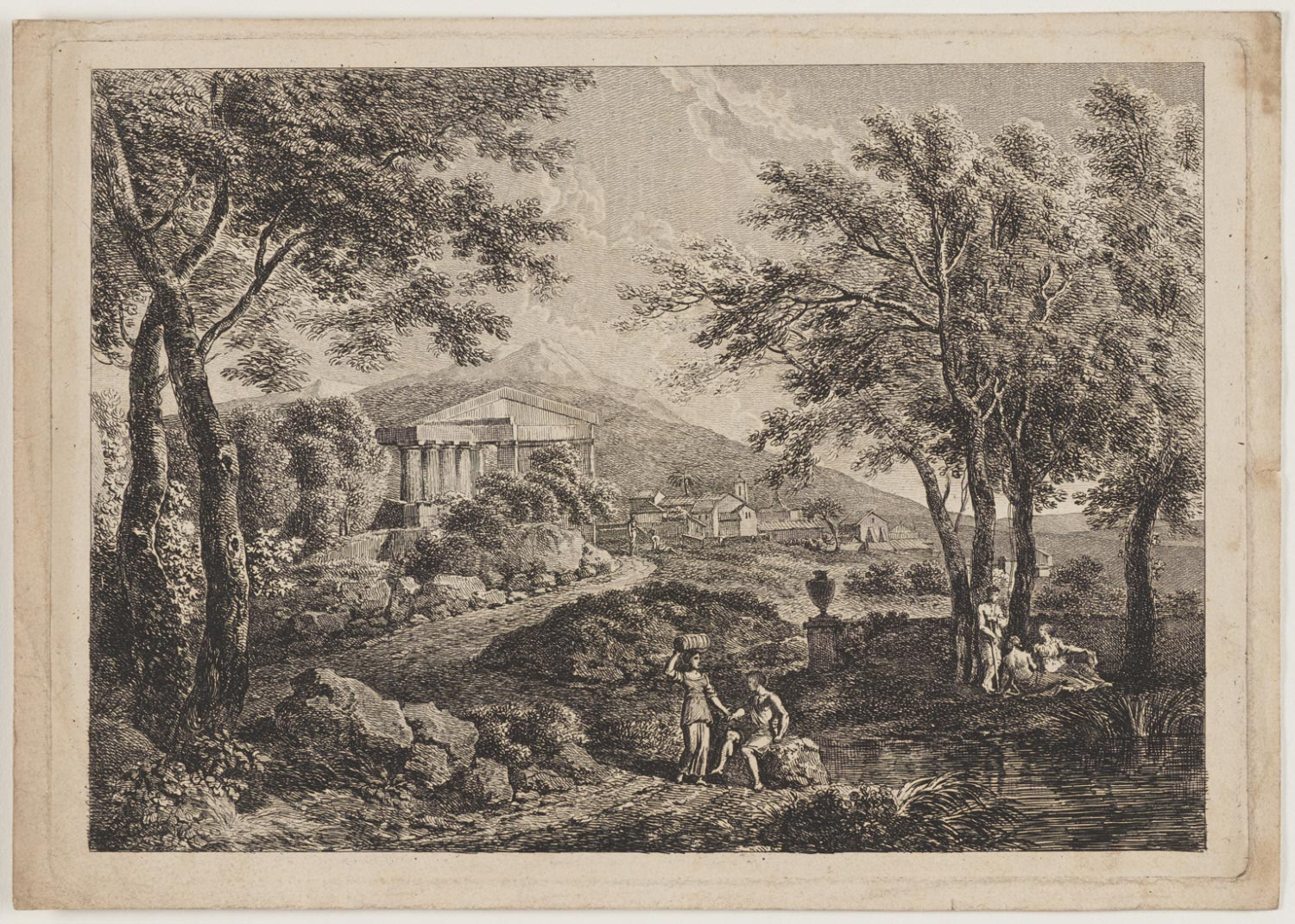 Classical Figures in Landscape before Greek Temple