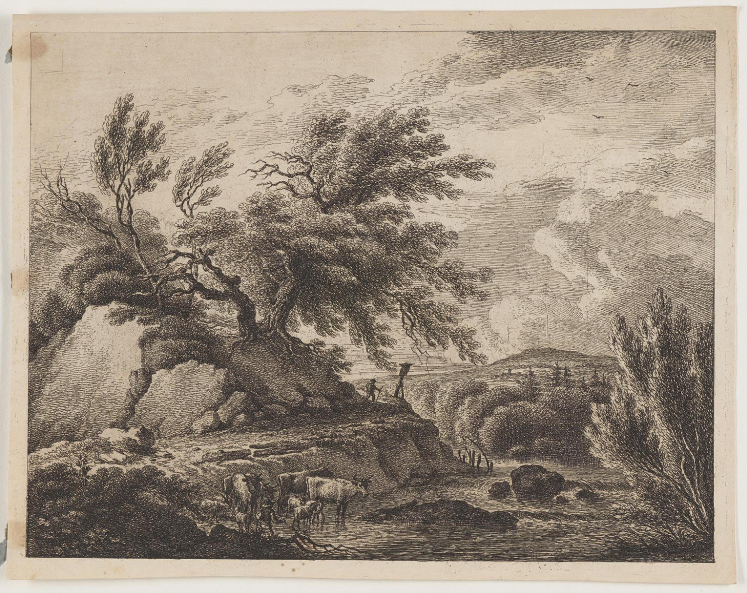 Man and Flock Fording Stream