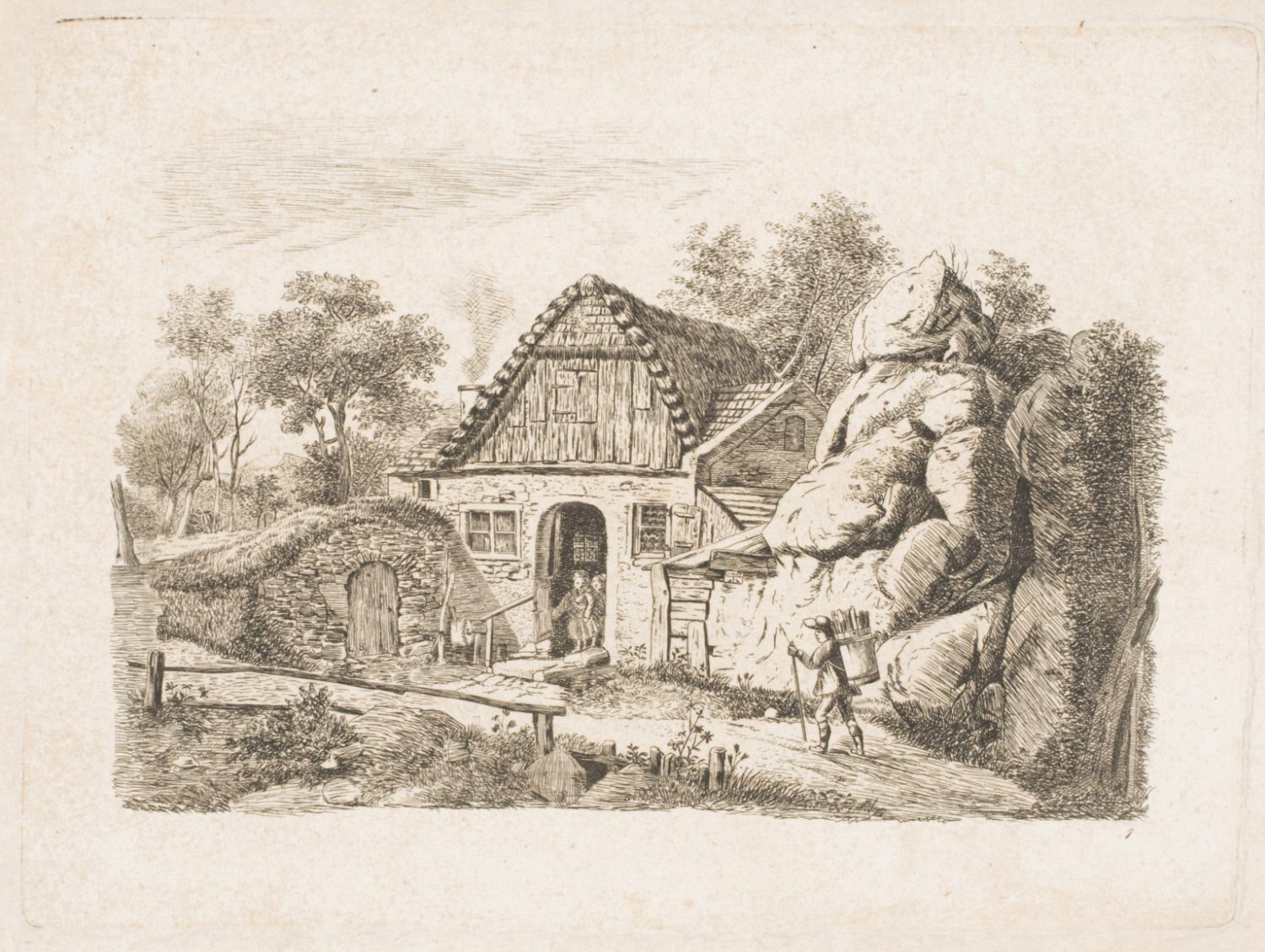 A Peasant Cottage next to a Large Outcropping of Rocks