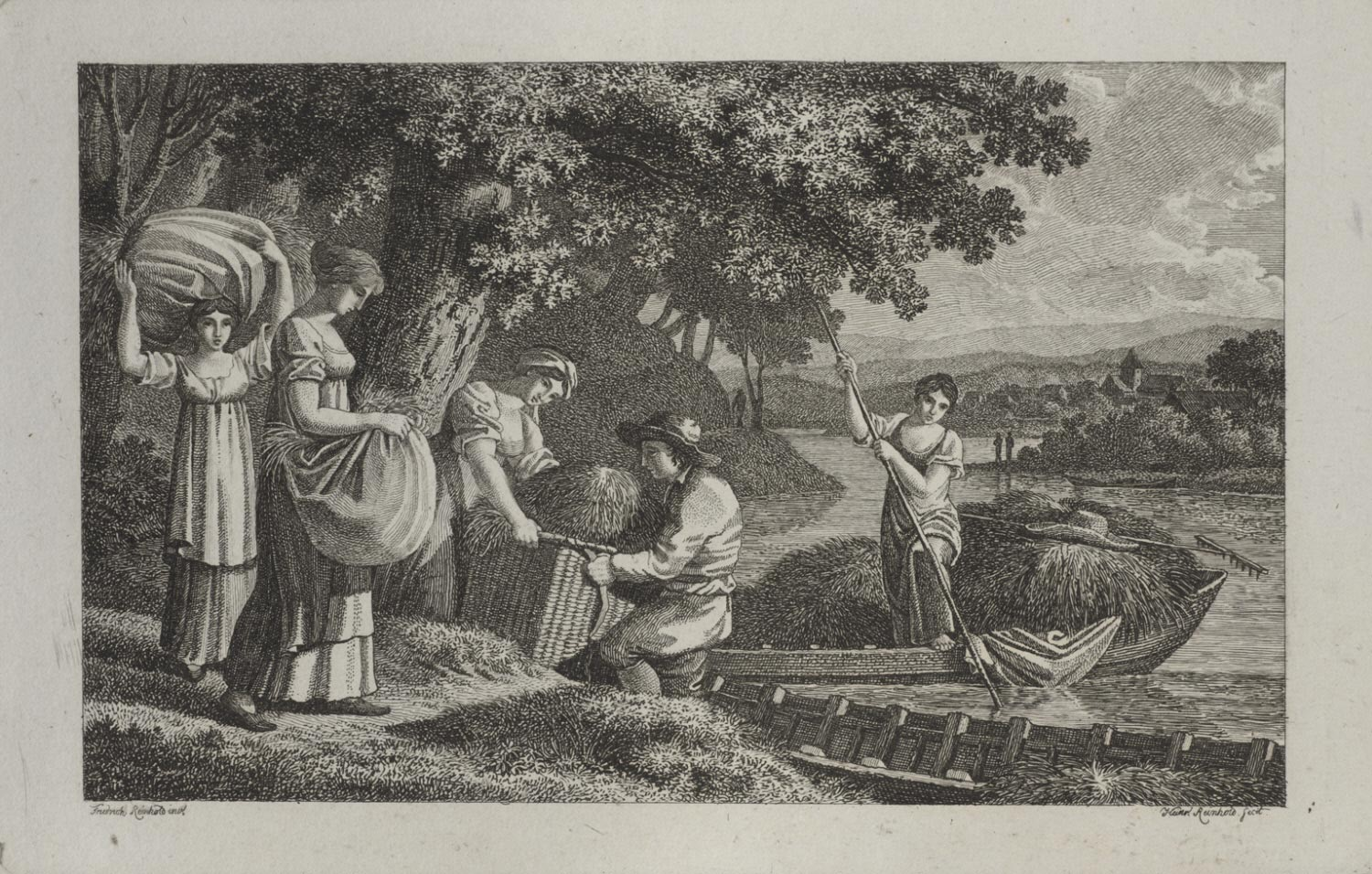 A Group of Peasants Loading Hay into Boats