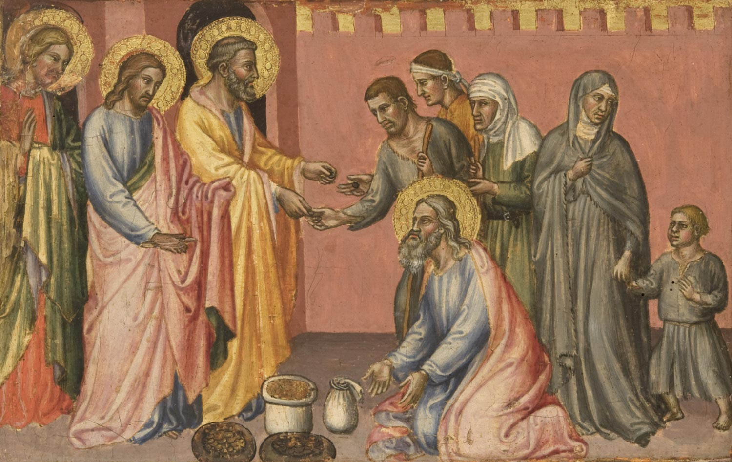 Saint Barnabas Donating His Wealth to the Apostles John the Evangelist, James the Less, and Peter