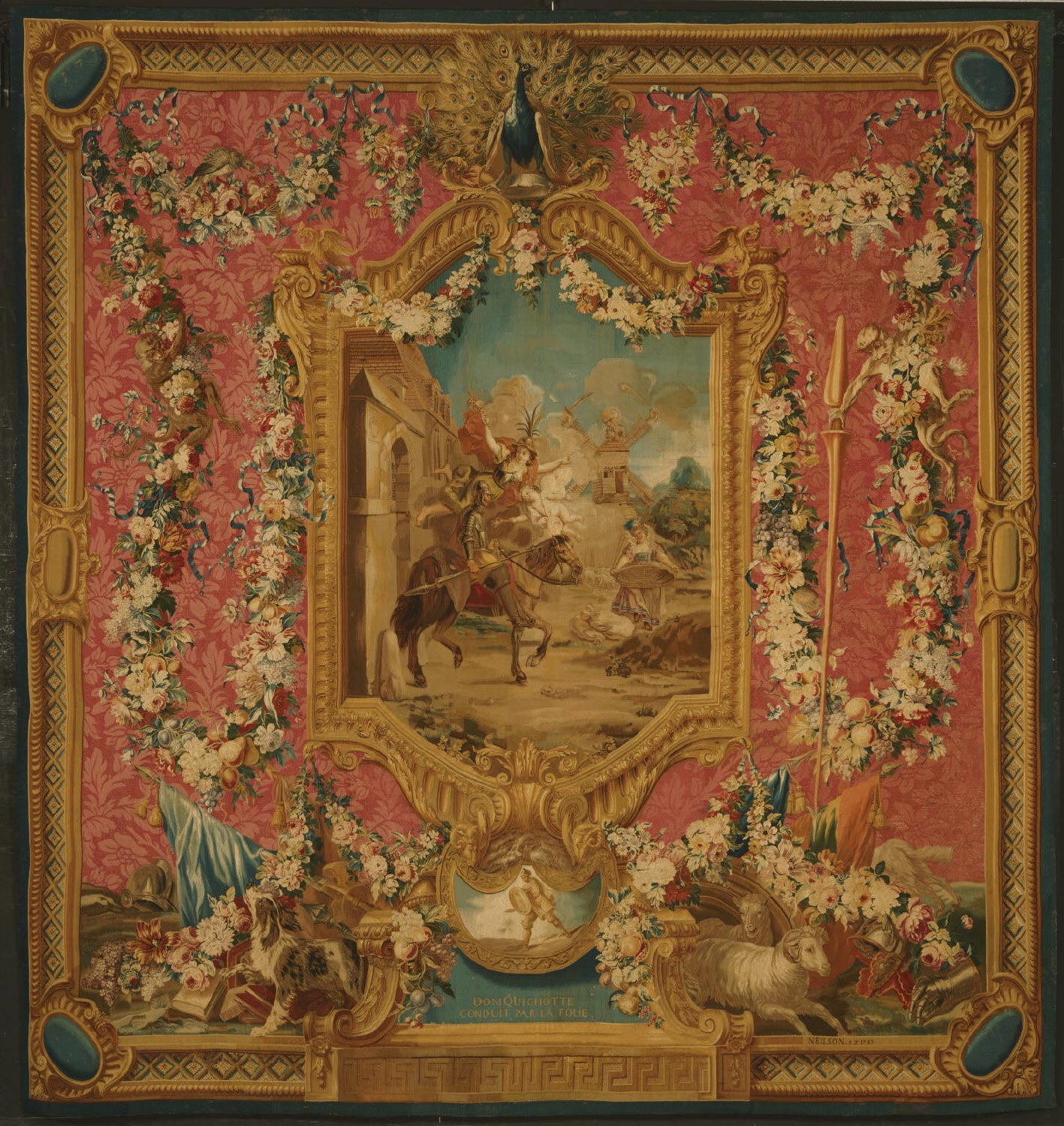 Tapestry showing Don Quixote Guided by Folly, Setting Forth to be a Knight-Errant