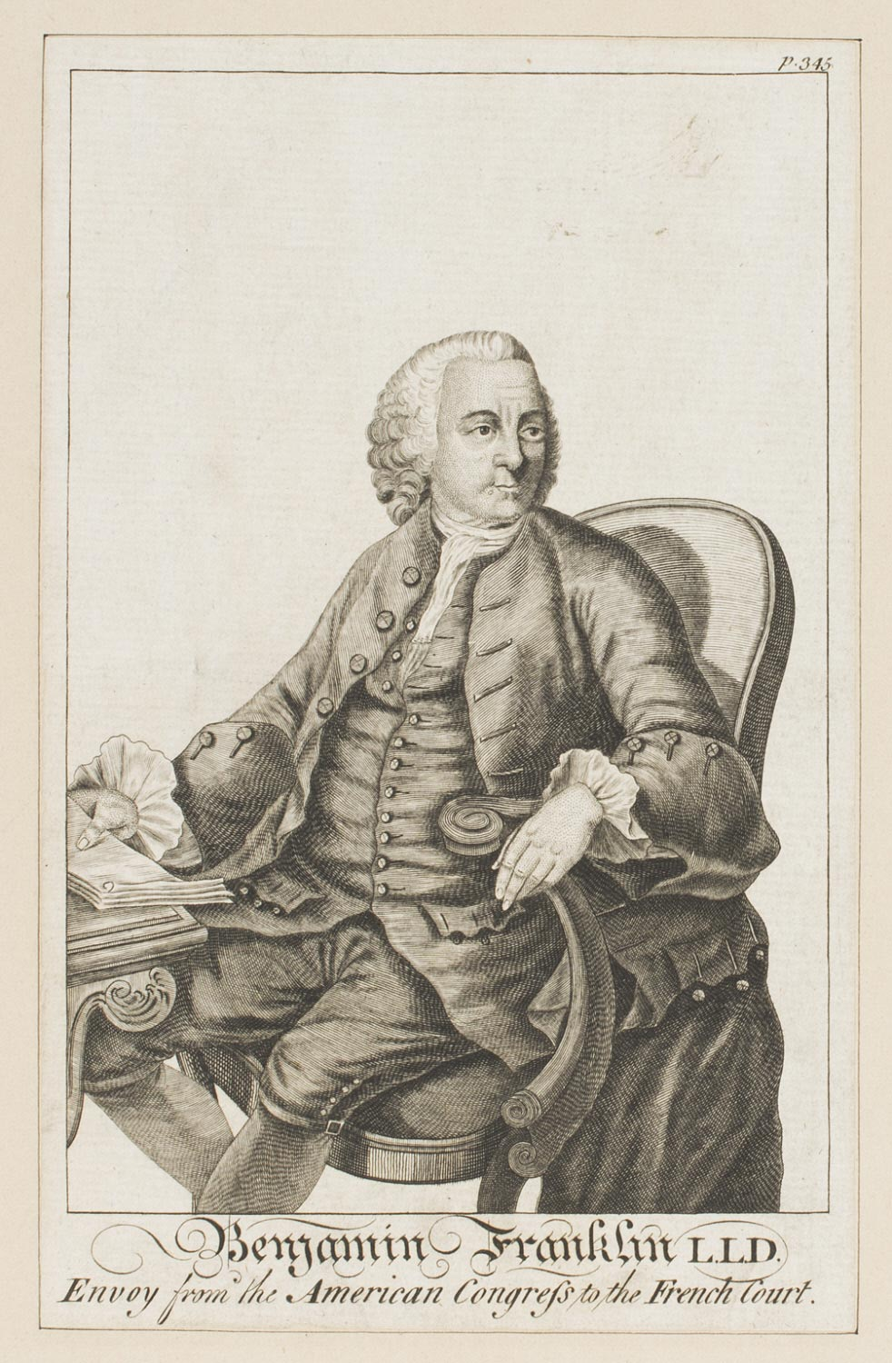 Benjamin Franklin L.L.D., Envoy from the American Congress to the French Court