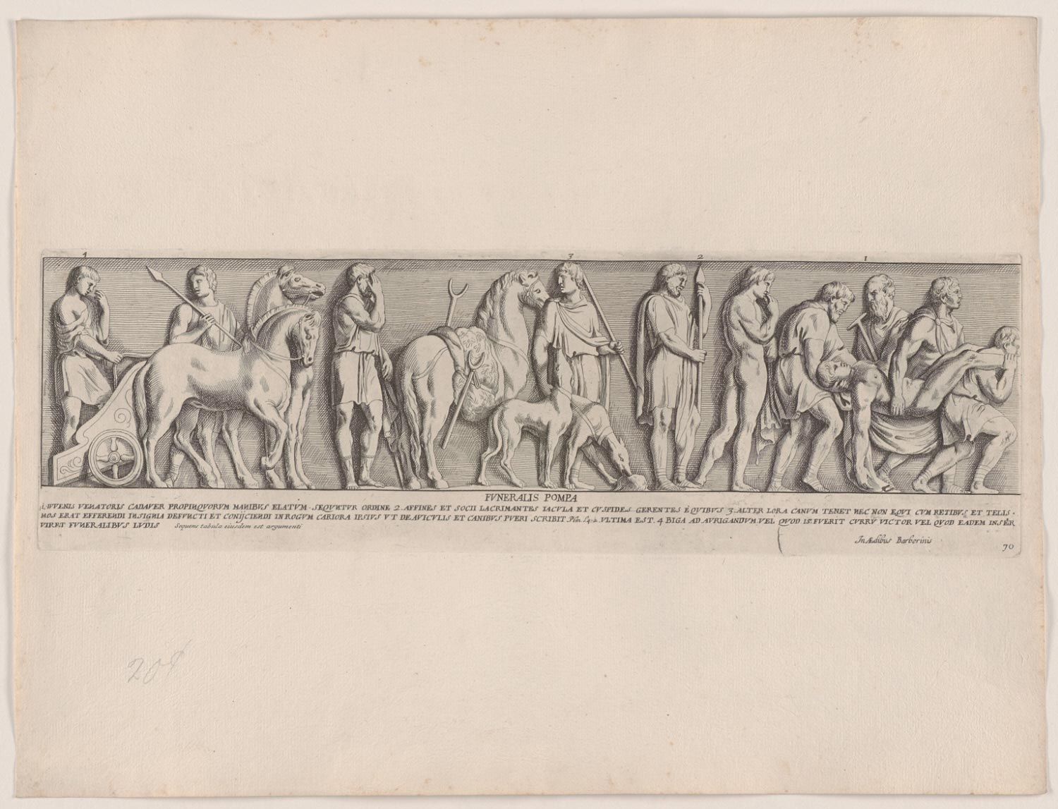 A Funeral Procession, with a Man in a Chariot and Men Carrying a Dead Body