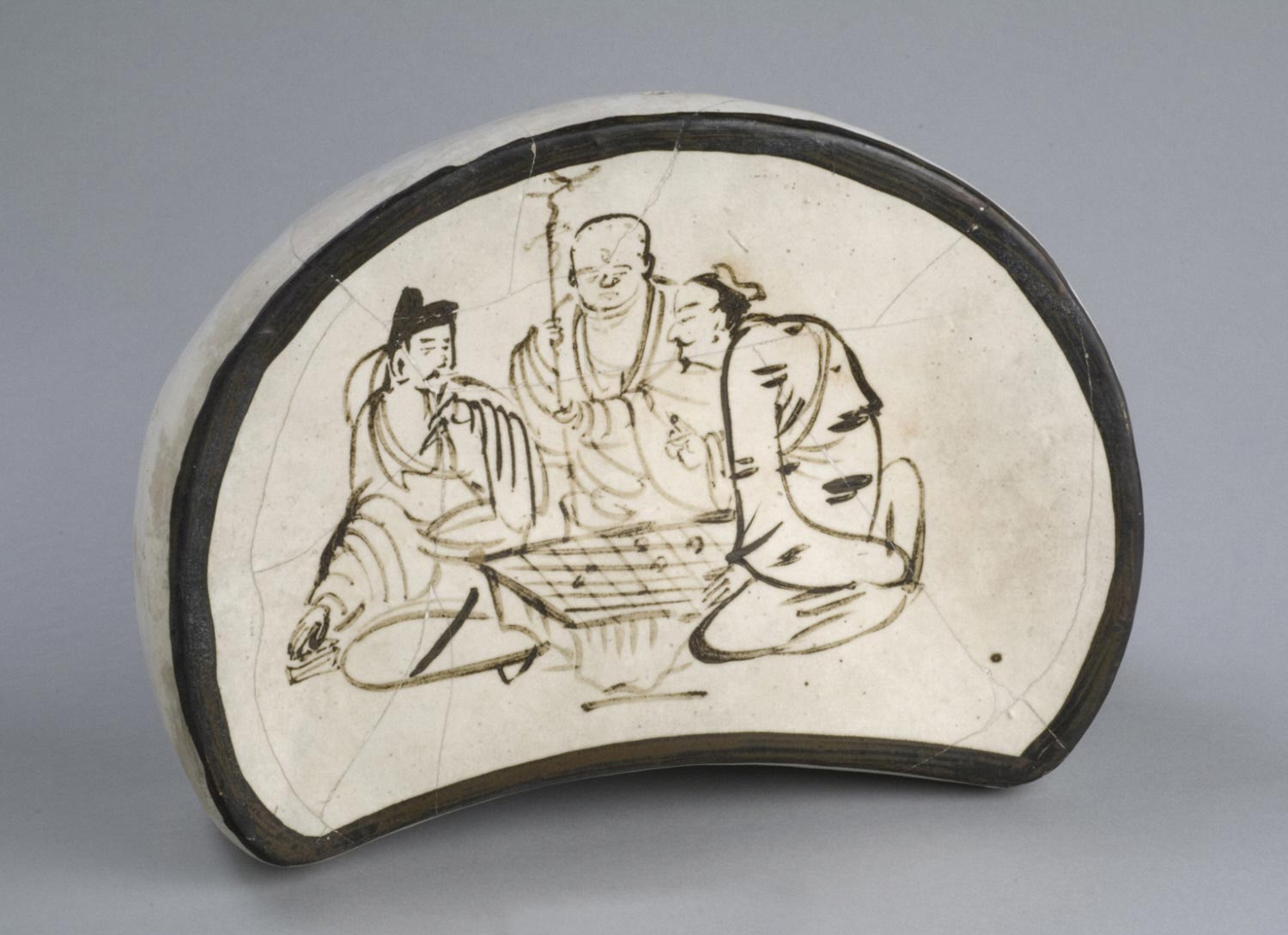 Pillow with Confucian Scholar, Buddhist Monk, and Daoist Priest
