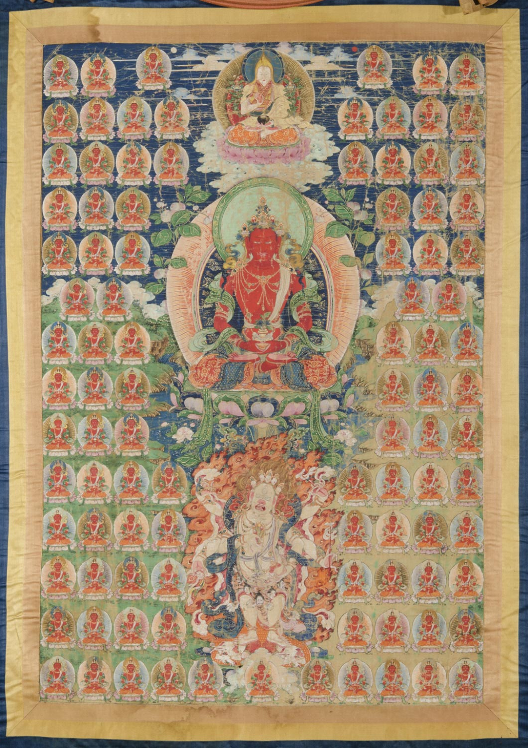 The Second Bogd Gegen, Six-Armed White Mahakala, and Amitayus in an Amitayus-Field