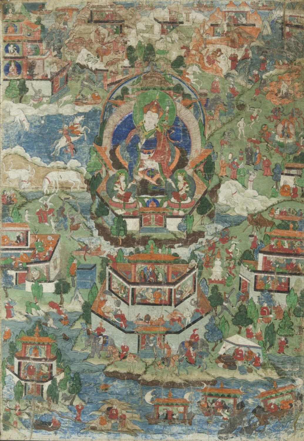 Padmasambhava's Paradise Surrounded by Scenes from the Life of Padma 'od 'bar