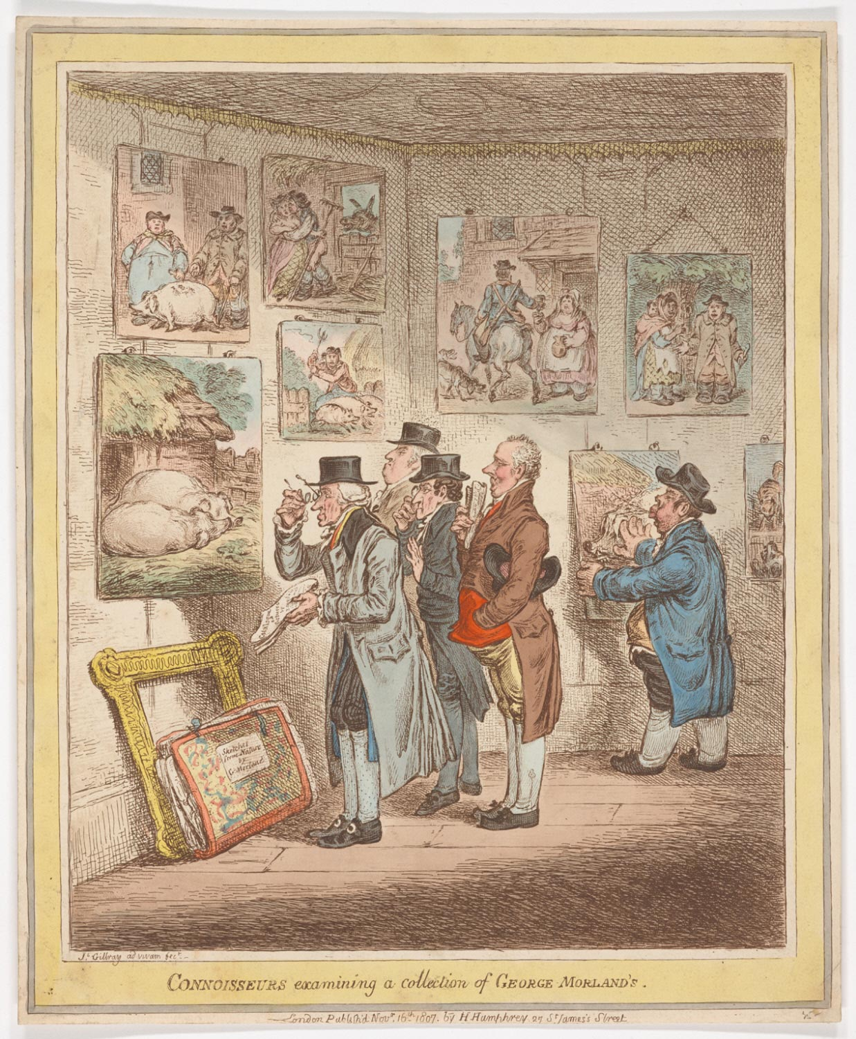 Connoisseurs Examining a Collection of George Morland's