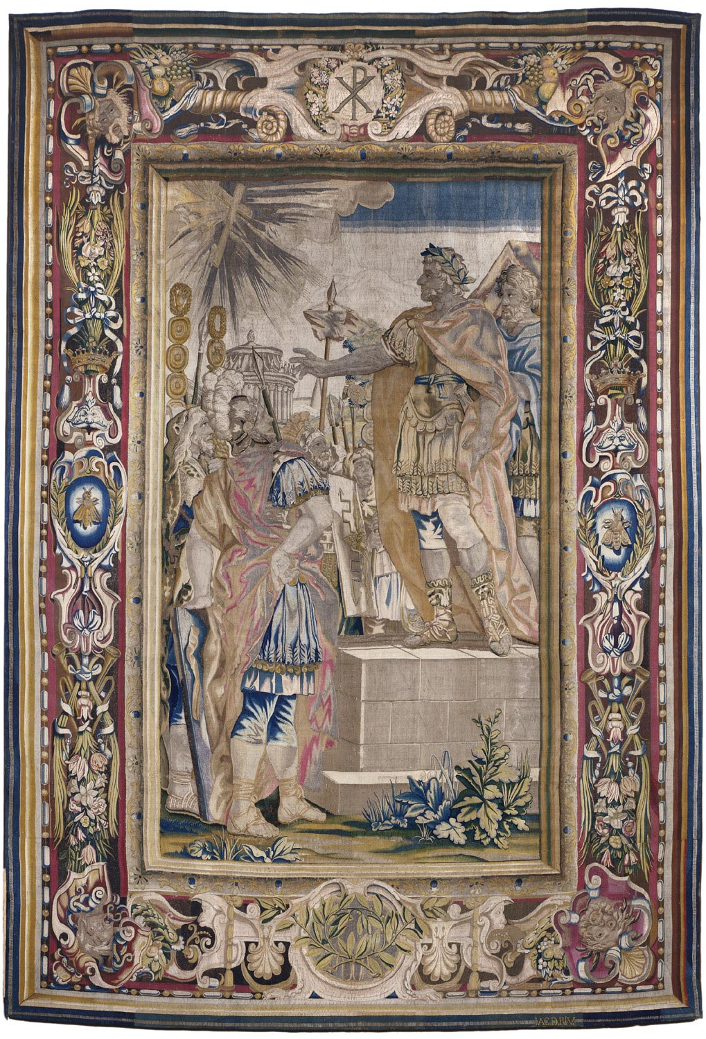 Tapestry showing the Apparition of the Cross before Constantine