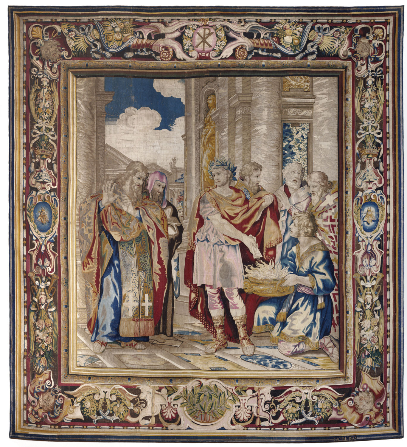 Tapestry showing Constantine Burning the Memorials to Give Tax Concessions to the Christian Church