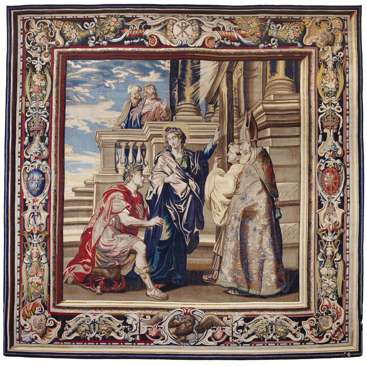 Tapestry showing Constantine Worshiping the True Cross, Indicated by Saint Helena