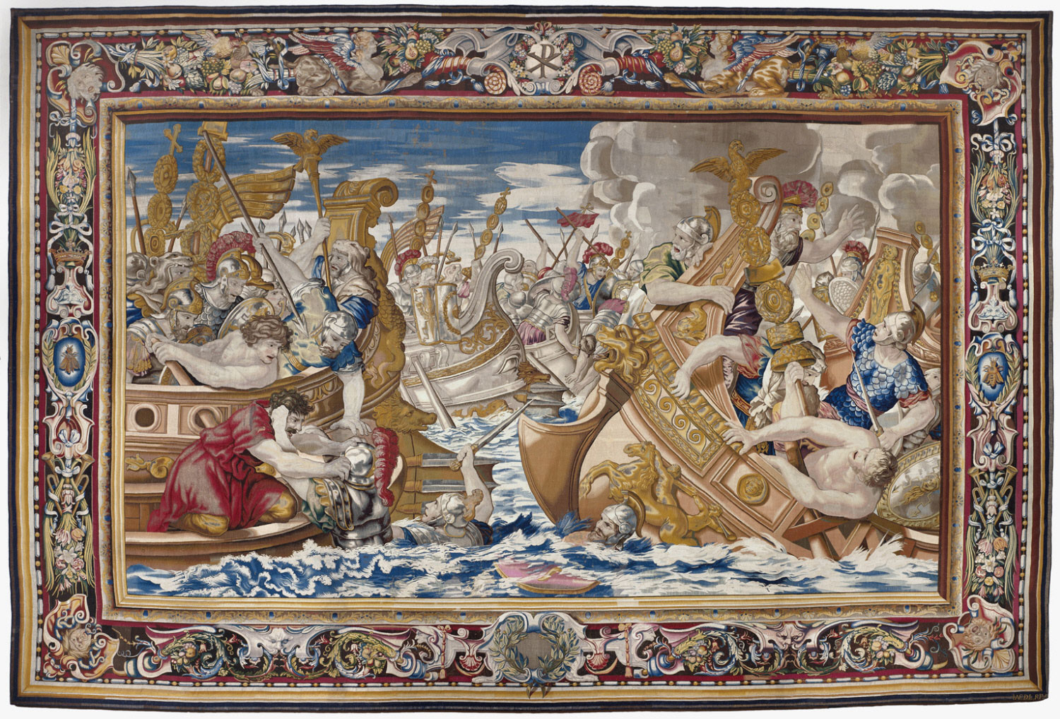 Tapestry showing the Sea Battle between the Fleets of Constantine and Licinius