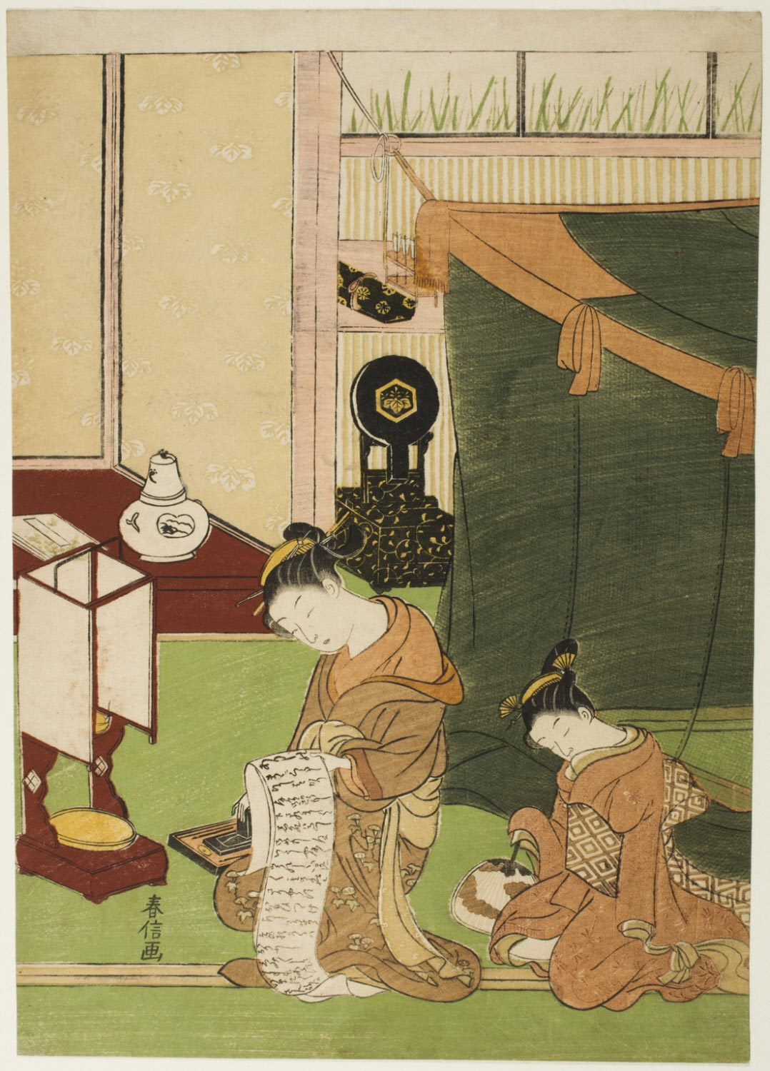 Courtesan Writing a Letter, and Sleeping Kamuro