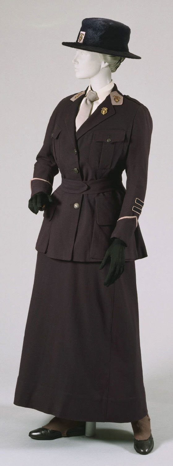 Uniform of a Captain in the National League for Women's Service: Jacket, Skirt, Belt, Hat, Spats, and Pin