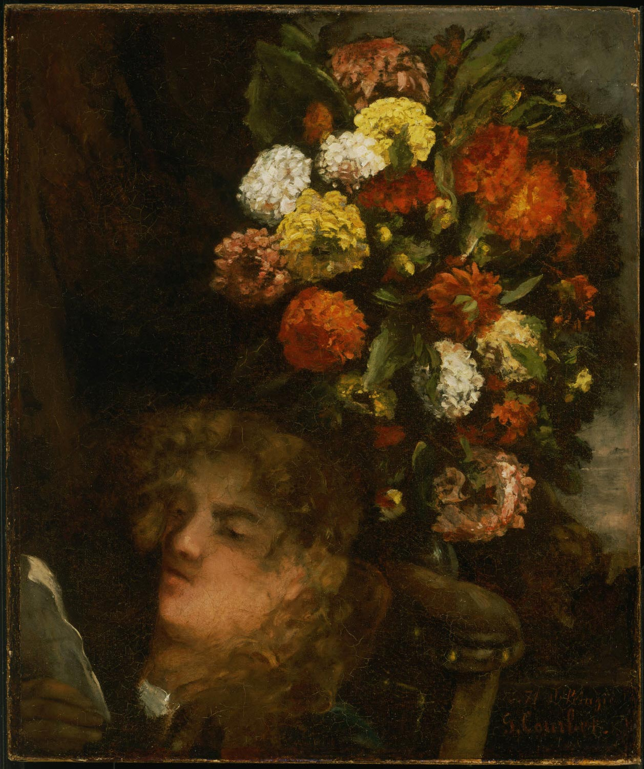 Head of a Woman and Flowers